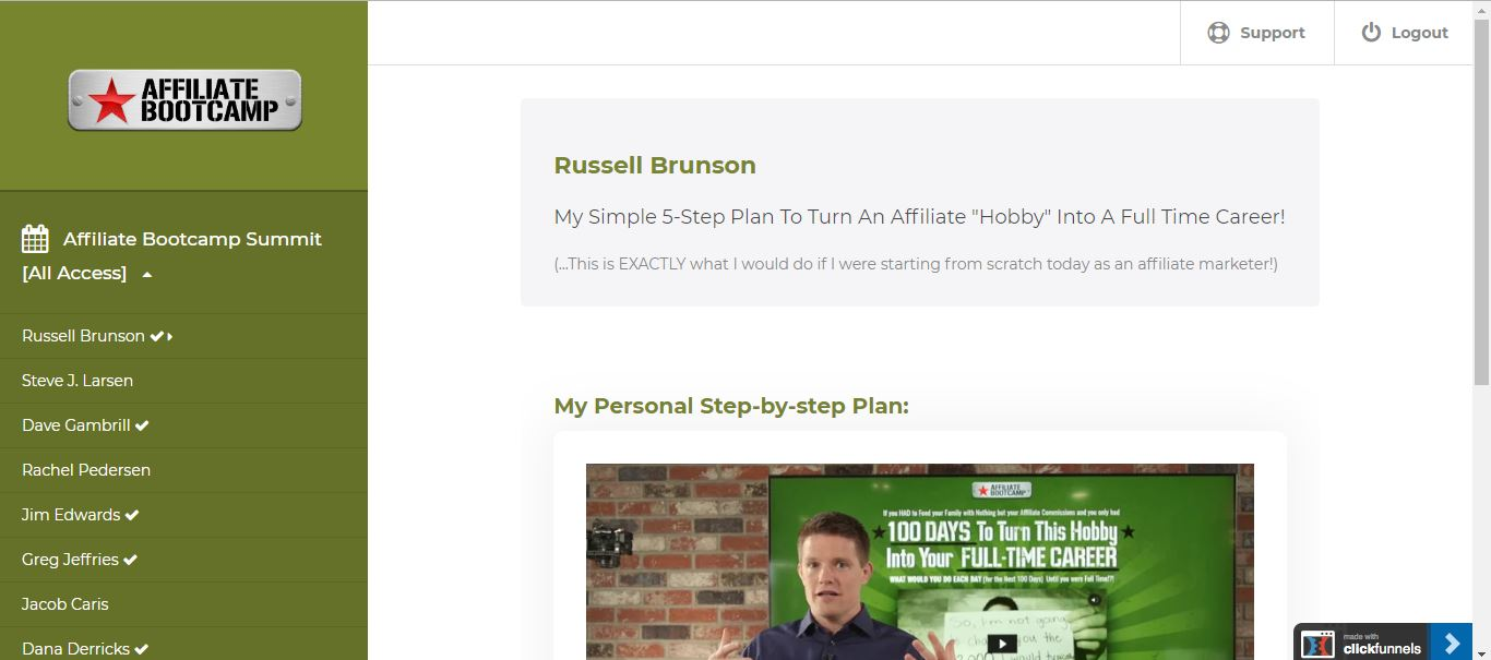 affiliate bootcamp by russell brunson for Clickfunnels