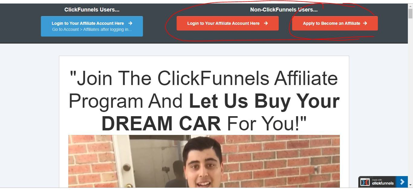 whats your dream car clickfunnels affiliate sign up