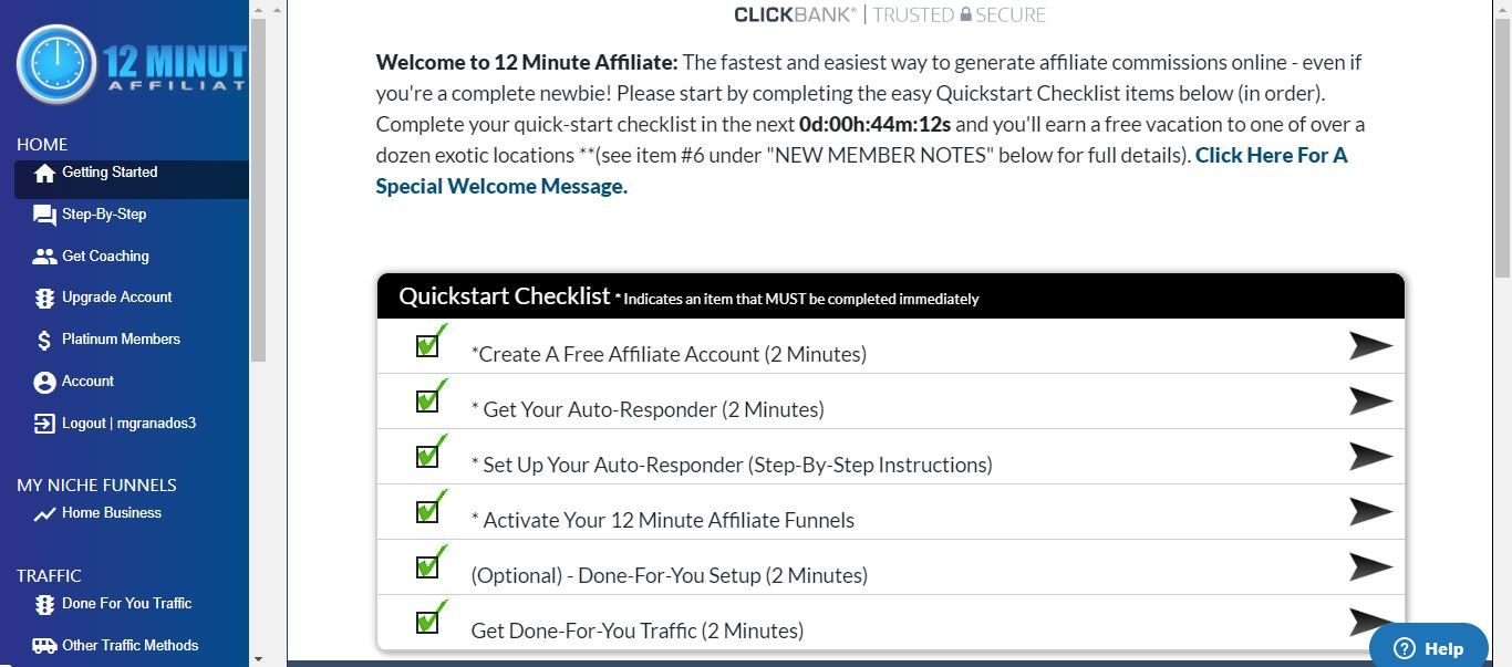 12 minute affiliate dashboard