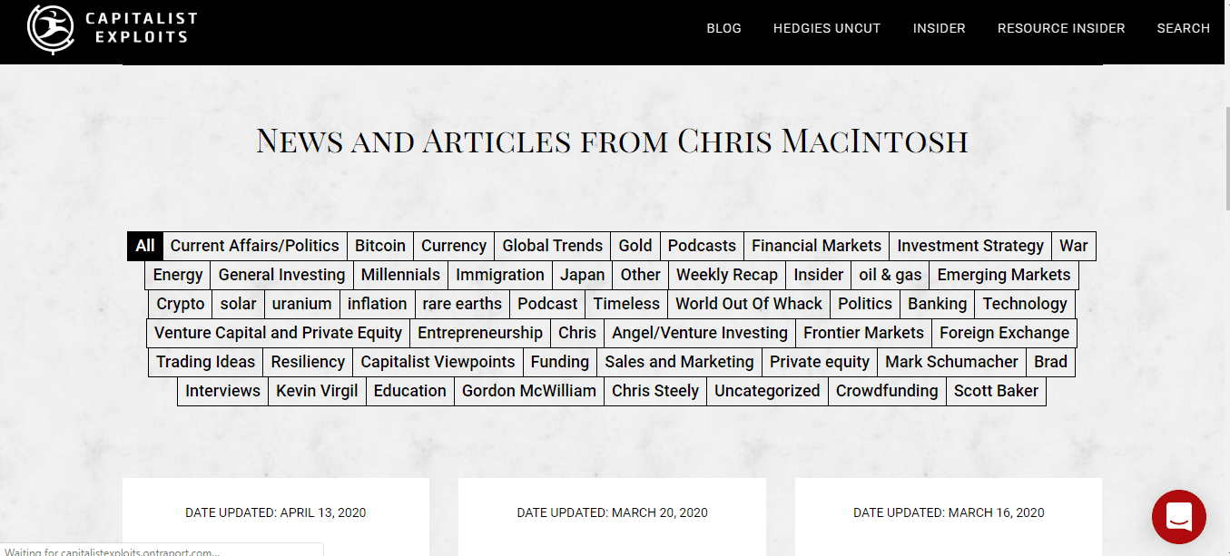 news and articles from chris macintosh
