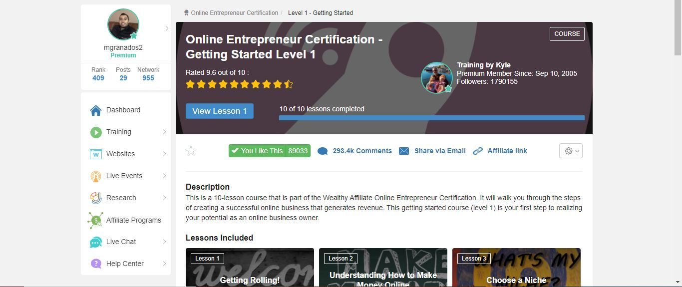 wealthy affiliate entreprenurial certification