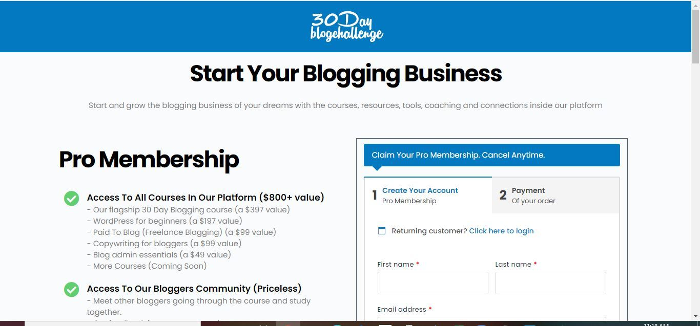 30 day blog challenge cost