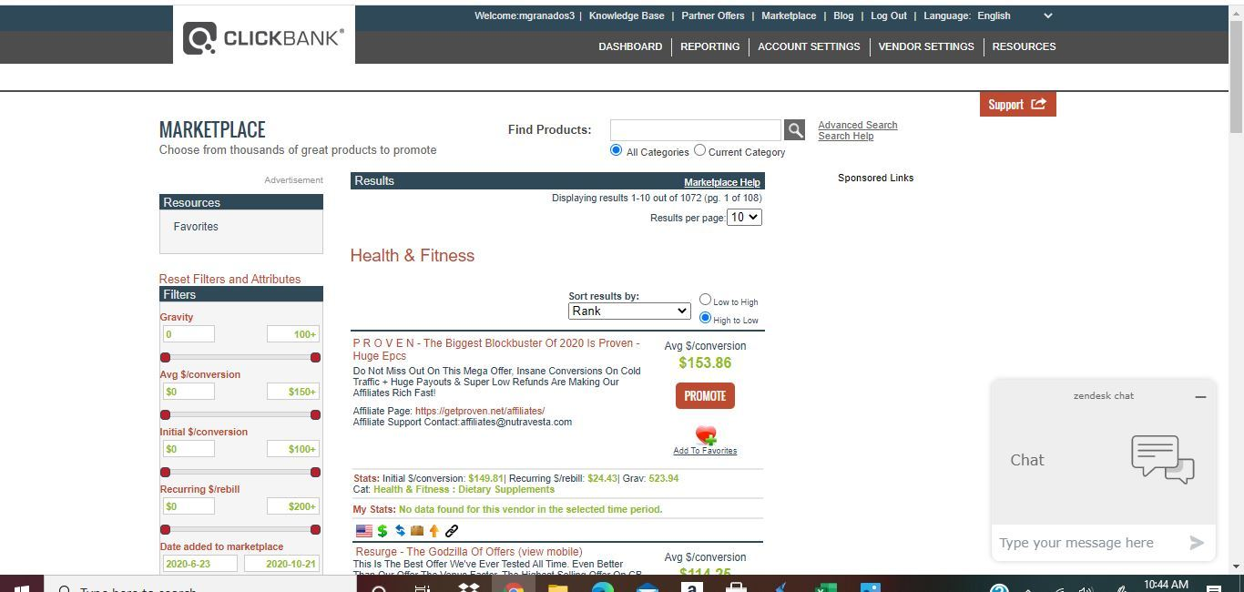 clickbank health and fitness