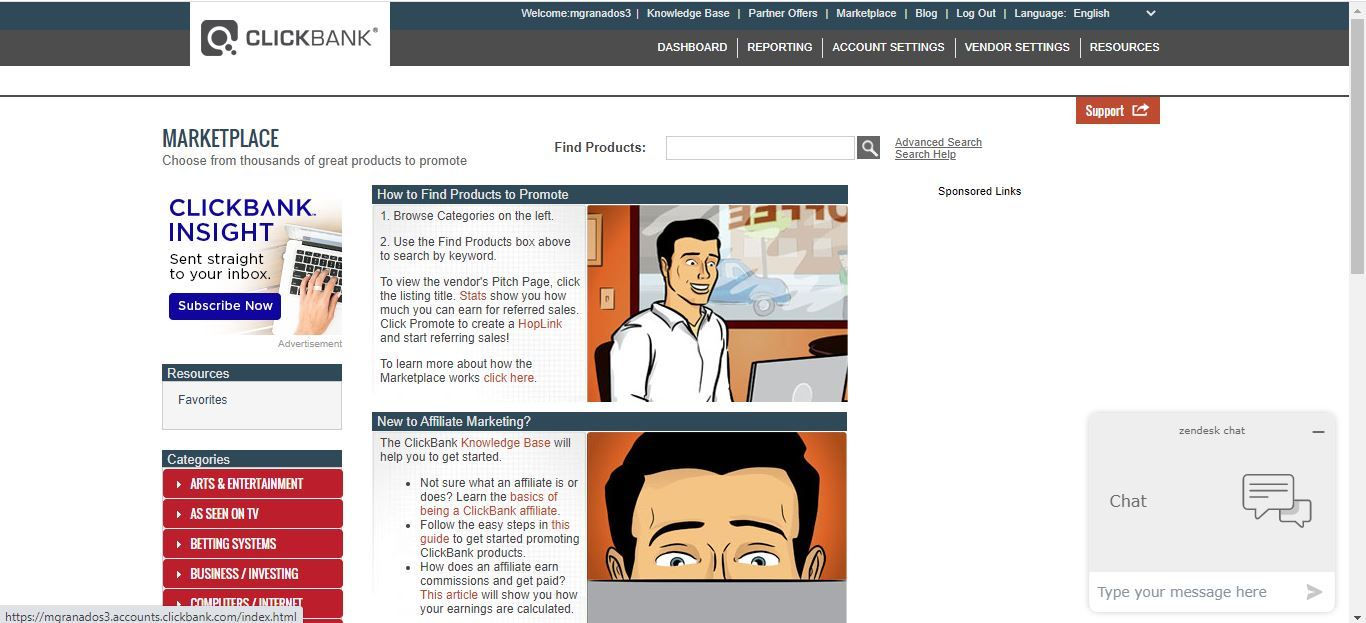 clickbank marketplace home page
