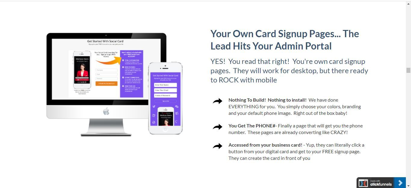 lead pro card sign up pages