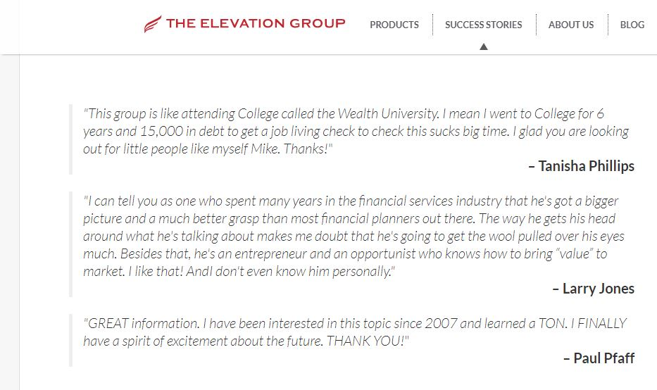 the elevation group reviews