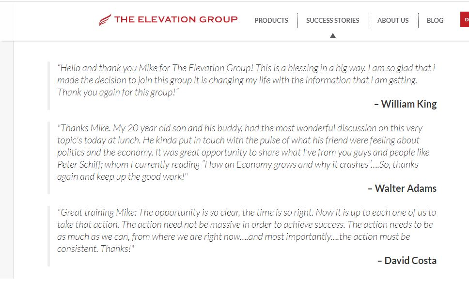 the elevation group success stories