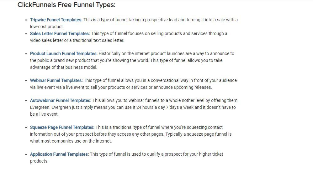 clickfunnels free funnel types