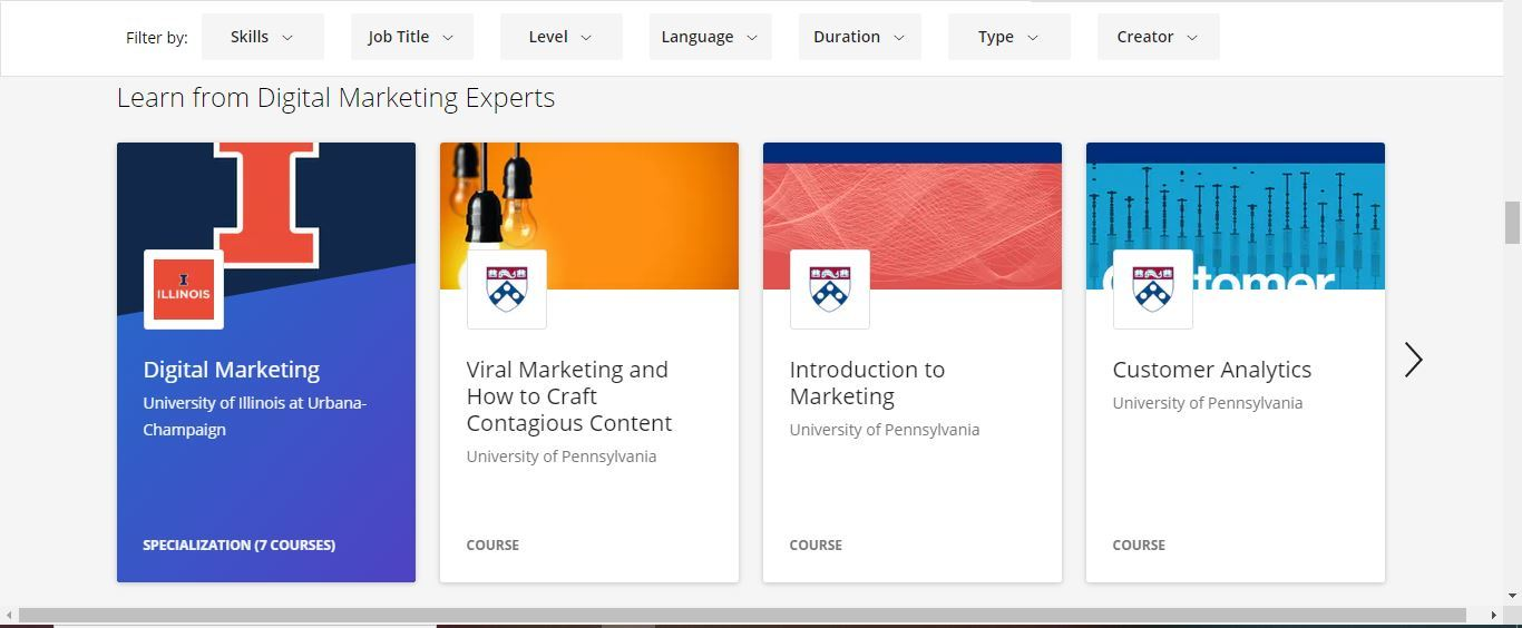 coursera learn from digital marketing experts