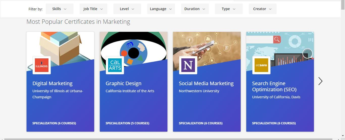 coursera most popular certificates in marketing