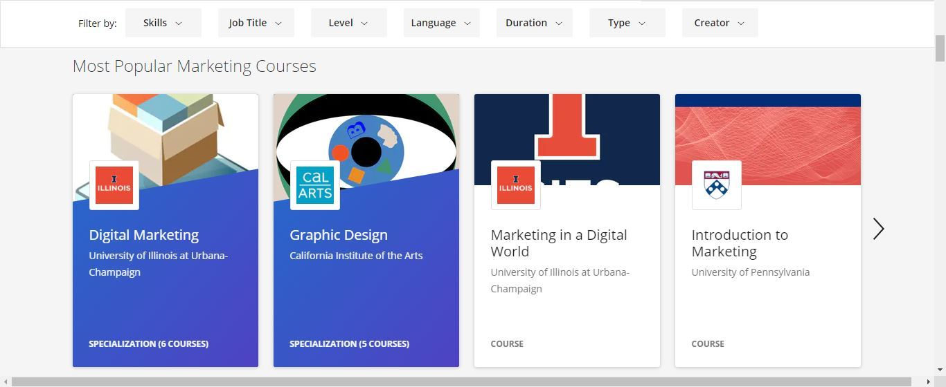 coursera most popular marketing courses