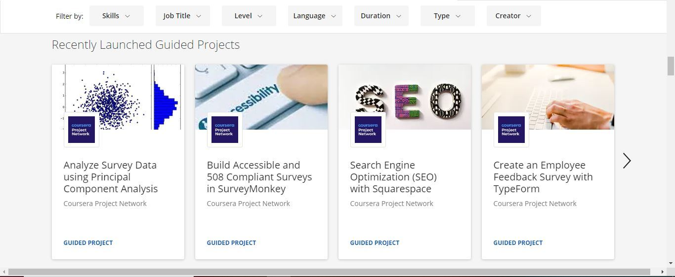 coursera recently launched guided projects
