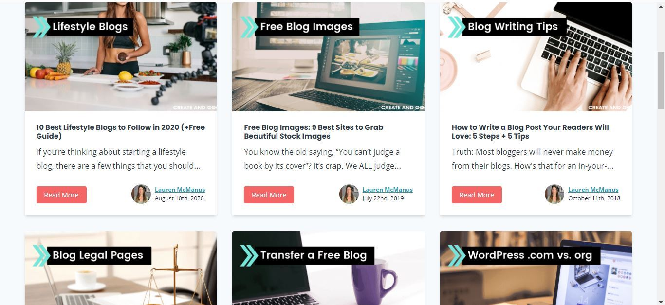 create and go blog design page