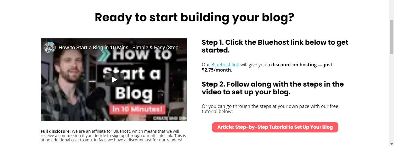create and go bluehost lesson
