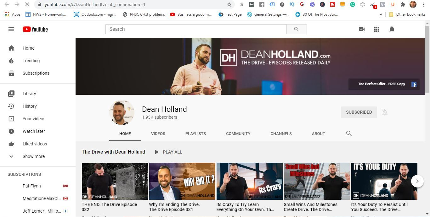 dean holland youtube channel