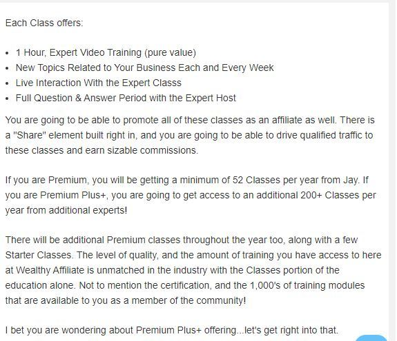 wealthy affiliate classes
