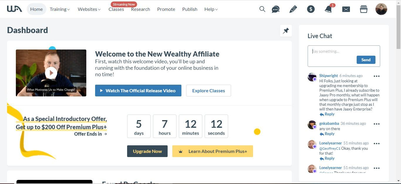 wealthy affiliate ux platform change