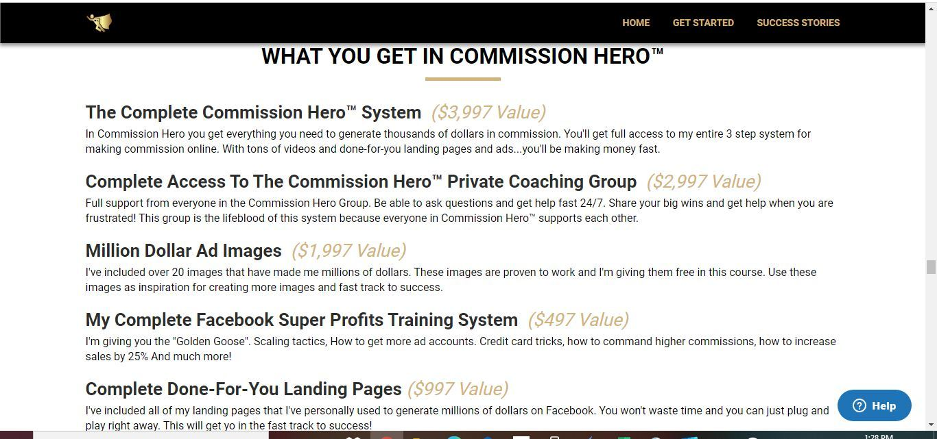 what you get inside commission hero