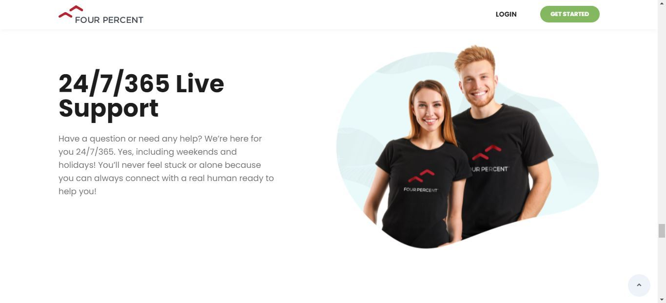 four percent live support
