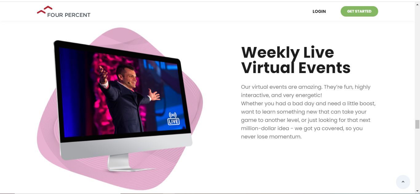 four percent weekly live virtual events