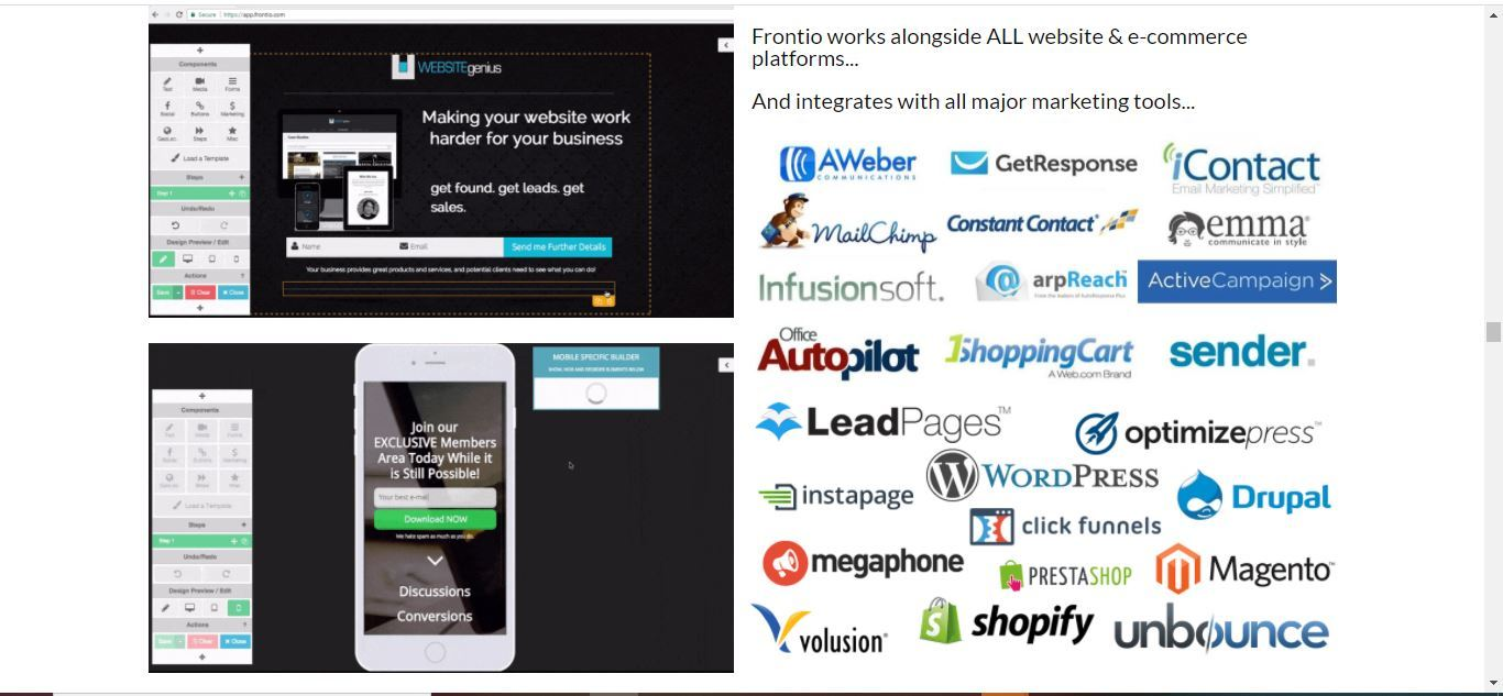frontio page builder system integration