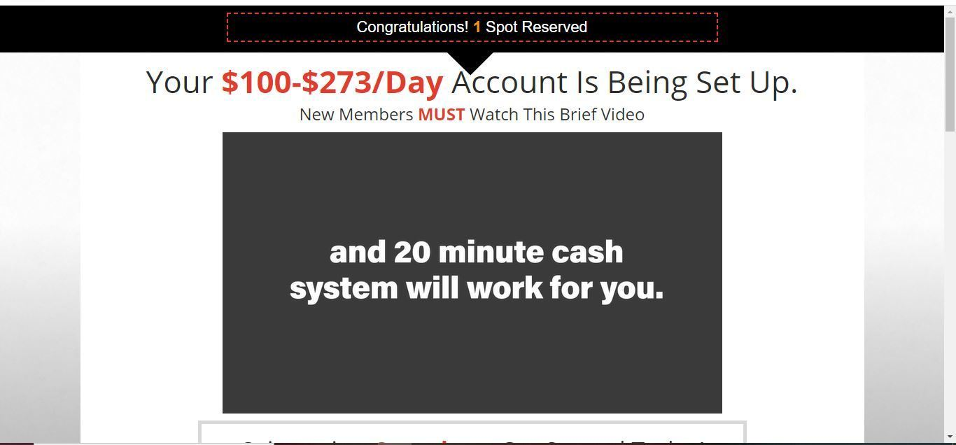 20 minute cash system account