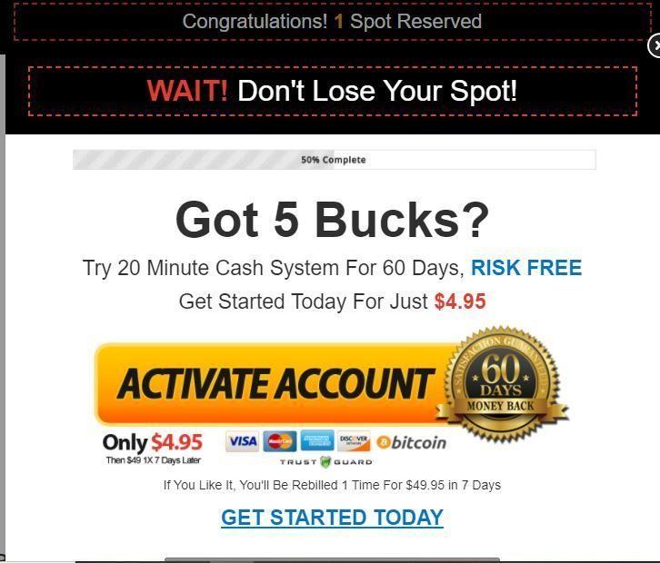 20 minute cash system cost
