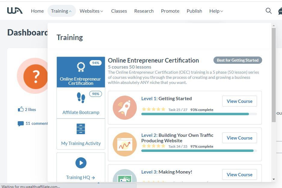 wealthy affiliate two trainings
