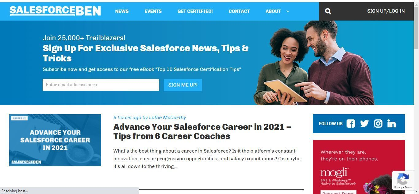 sales force ben home page