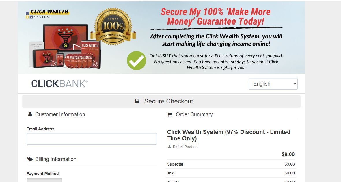 click wealth system cost
