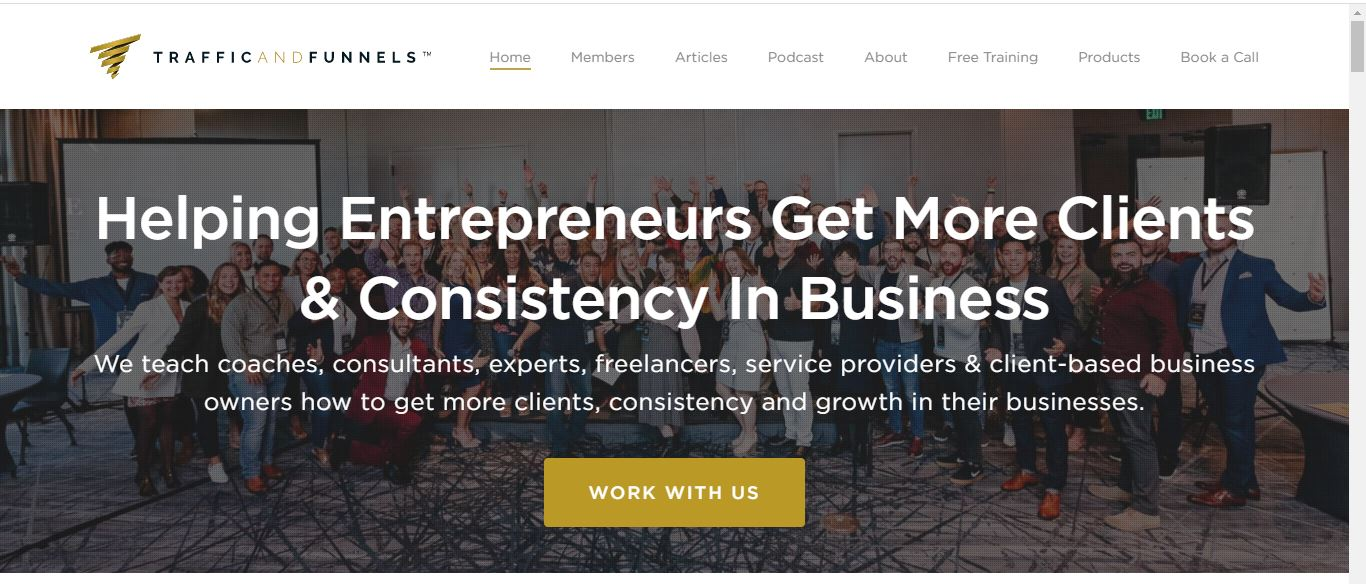 traffic and funnels home page